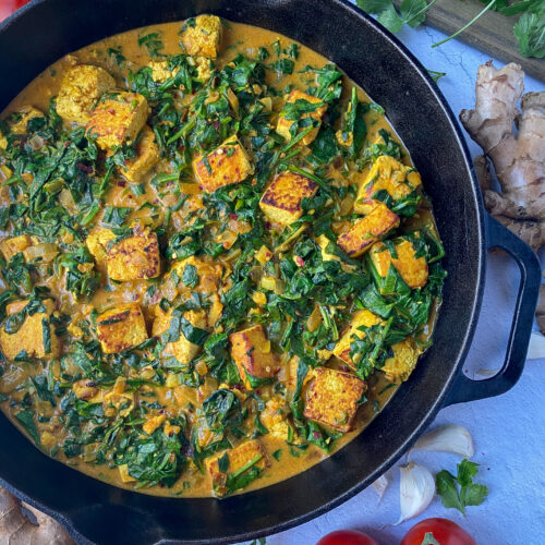 Curry Tofu and Spinach