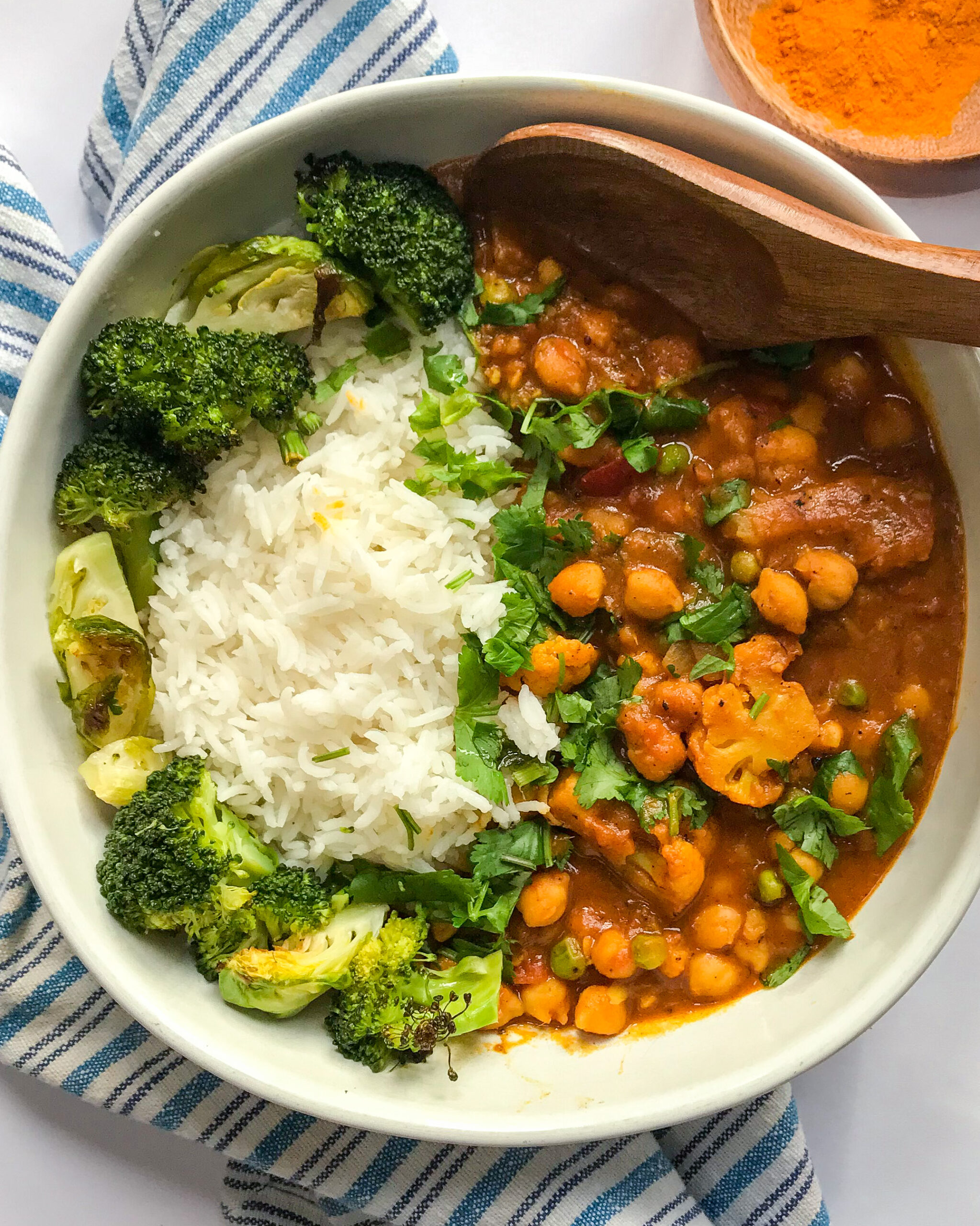 Vegan Coconut Curry with Chickpeas, and Cauliflower