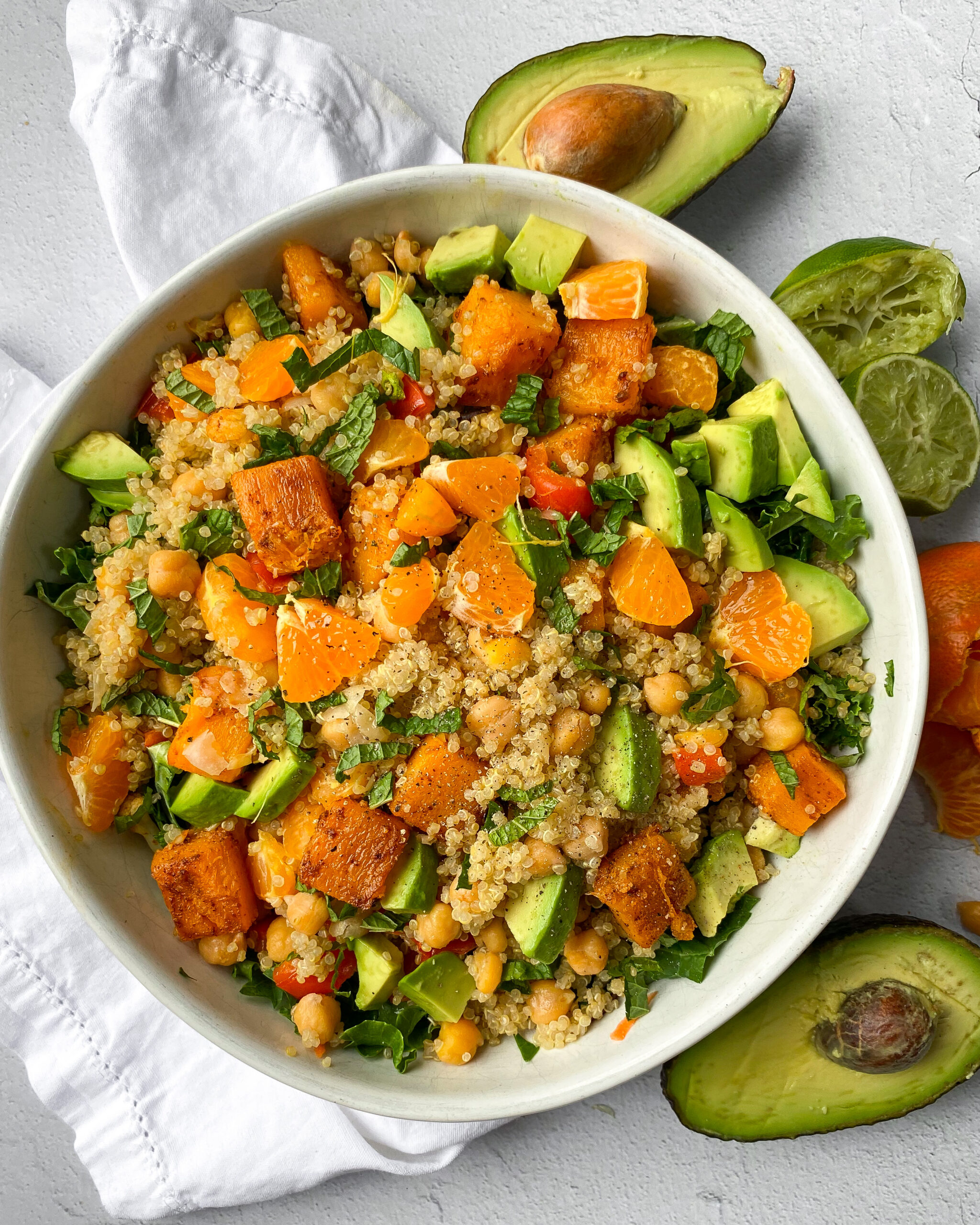 Superfood Kale and Quinoa Salad with mandarin and mint