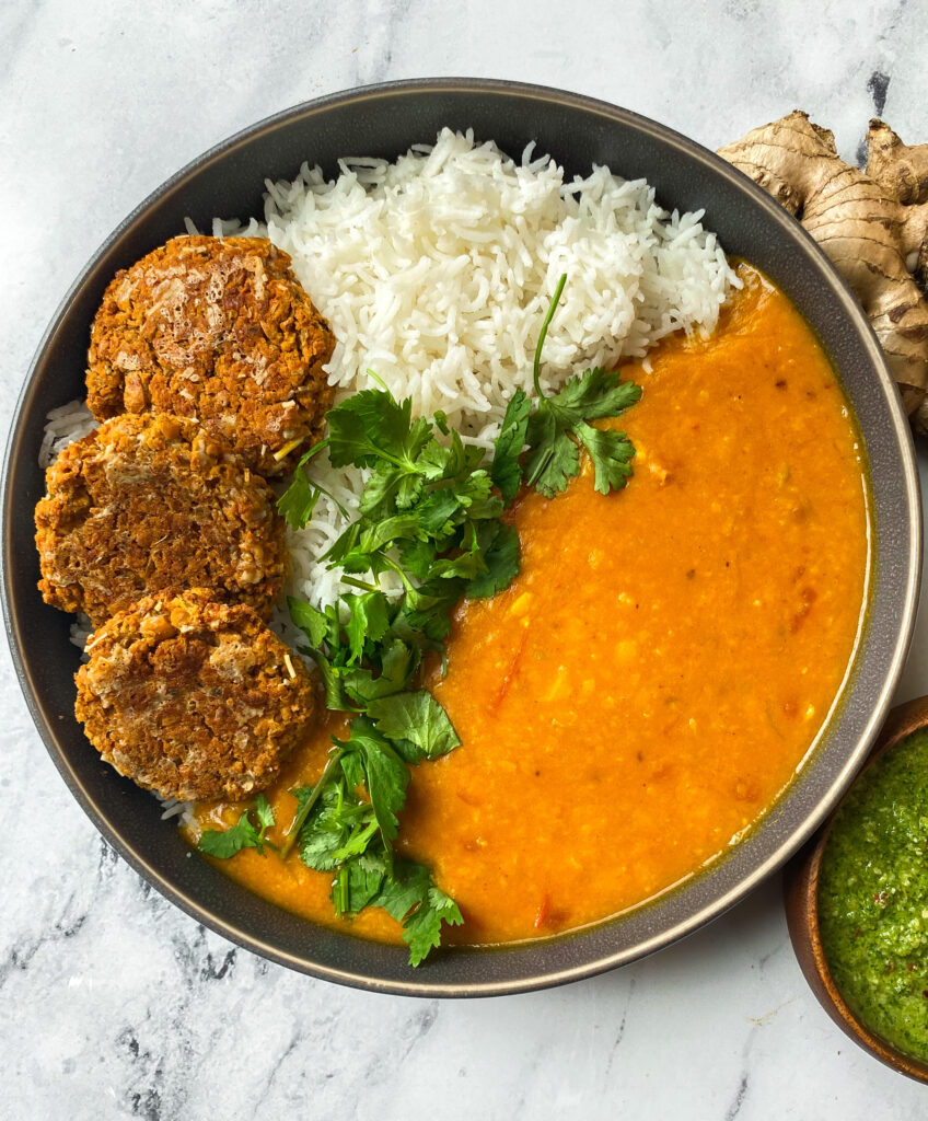 Coconut Curry Dal with Chickpea and Cauliflower Patties and Mint chutney